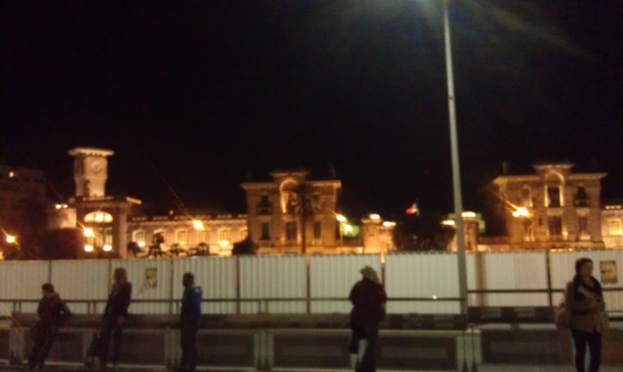 Photo of Massena at night, taken from the tram stop.