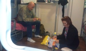Picnic in our room in the hostel on Christmas evening.