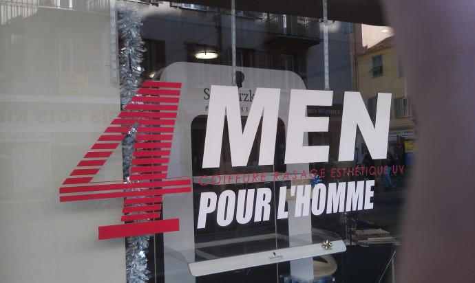 "They translated ""4 Men"" to ""Pour l'homme"" in case someone didn't get it."