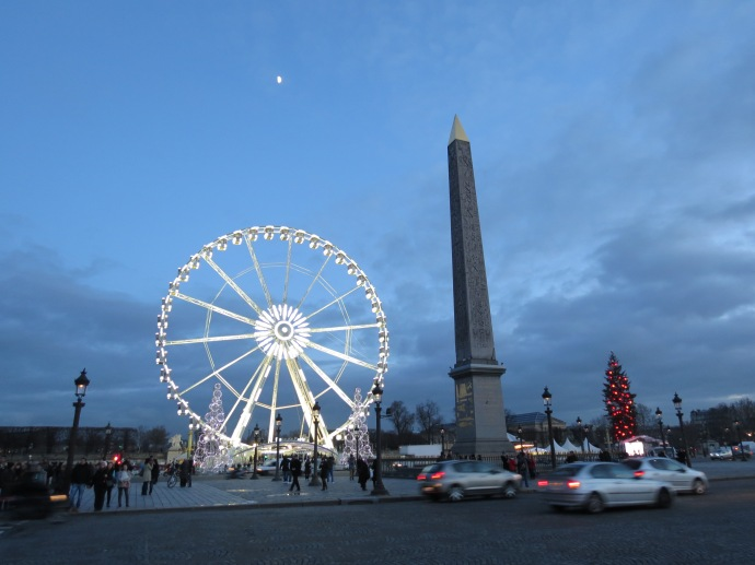 The obelisk from the Place de la Concorde and the Paris Wheel.