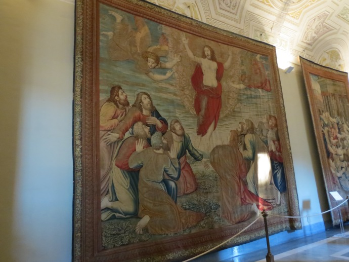 One section had a lot of tapestries on the walls.