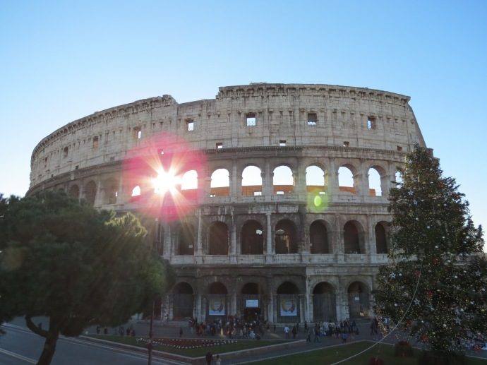 The sun was coming up behind the Colosseum and it was BEAUTIFUL!
