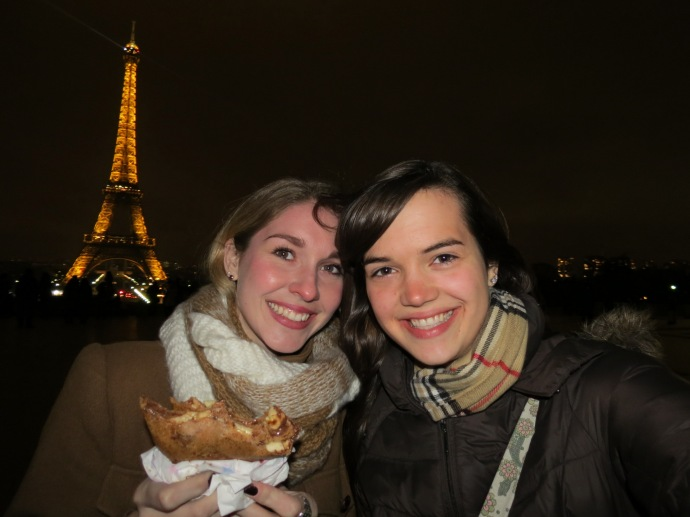 Eating a crepe with my best friend in front of the Eiffel Tower. Perfection.
