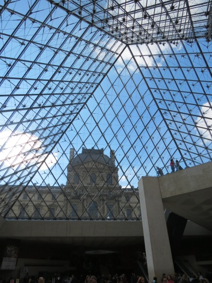 From inside the main part of the Louvre.