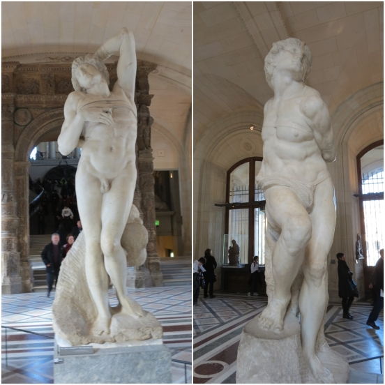 "Two more sculptures by Michelangelo, ""Dying Slave"" on the left and ""Rebellious Slave"" on the right."